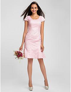 LAN TING BRIDE Knee-length Scoop Bridesmaid Dress - Short Short Sleeve Lace