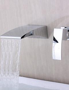 Zeitgenössisch Wandmontage Wasserfall with  Keramisches Ventil Einzigen Handgriff Zwei Löcher for  Chrom , Badewannenarmaturen