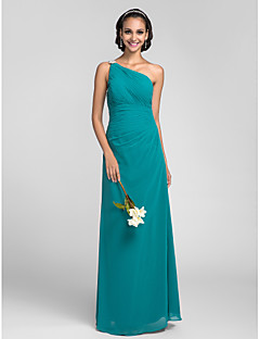 Floor-length Chiffon Bridesmaid Dress Sheath / Column One Shoulder Plus Size / Petite with Side Draping / Ruching / Crystal Brooch