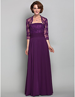 Lanting A-line Plus Sizes / Petite Mother of the Bride Dress - Grape Floor-length 3/4 Length Sleeve Chiffon / Lace