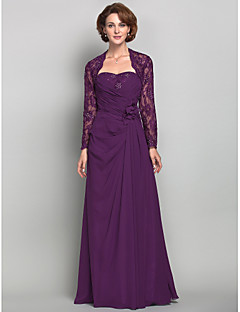 Sheath / Column Plus Size / Petite Mother of the Bride Dress - Wrap Included Floor-length Long Sleeve Chiffon / Lace withBeading /