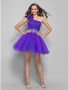 Cocktail Party / Homecoming / Prom Dress - Short Plus Size / Petite A-line / Princess One Shoulder Short / Mini Tulle withCrystal