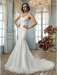 Trumpet/Mermaid Plus Sizes Wedding Dress - Ivory Court Train Spaghetti Straps Tulle/Lace