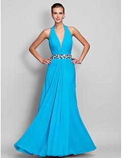 vestido de bainha / coluna cabeçada do assoalho-comprimento chiffon de noite / baile de finalistas (699.409)
