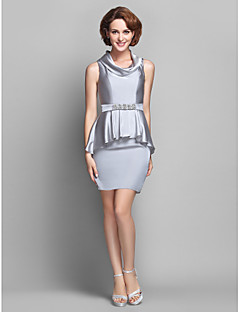 Sheath/Column Plus Sizes Mother of the Bride Dress - Silver Knee-length Sleeveless Satin Chiffon