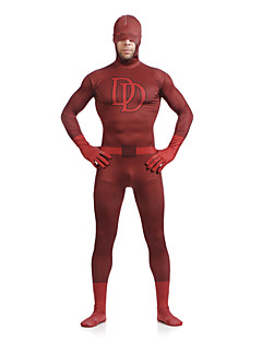 Double D Sorrel Superman Daredevil Lycra Spandex Superhero Open Half-face Zentai