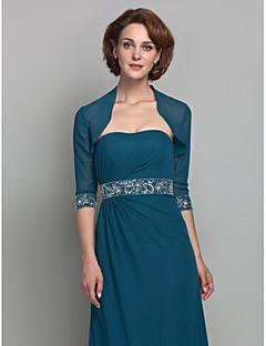 여성 숄 볼레로 3/4 길이 소매 쉬폰 잉크 블루 웨딩 / 파티/이브닝 넓은 칼라 39cm 구슬장식 오픈 프론트