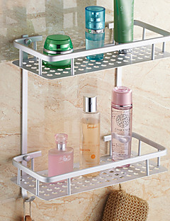 Contemporary Double Shelves Aluminum Material Bathroom Shleves