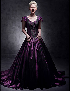 A-Line Ball Gown Princess V-neck Court Train Taffeta Quinceanera Dress with Beading by TS Couture®