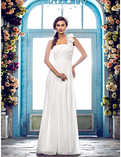 LAN TING BRIDE Sheath / Column Wedding Dress - Classic & Timeless Elegant & Luxurious Simply Sublime Floor-length One Shoulder Chiffon
