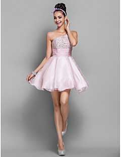 Homecoming Cocktail Party/Homecoming/Prom/Holiday Dress - Candy Pink A-line/Princess One Shoulder Short/Mini Organza
