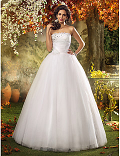Lanting A-line/Princess Plus Sizes Wedding Dress - Ivory Floor-length Strapless Tulle