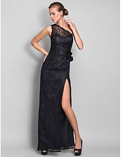 Formal Evening/Prom/Military Ball Dress - Black Plus Sizes Sheath/Column One Shoulder Floor-length Lace