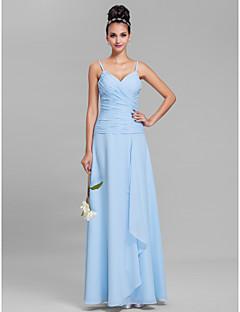 LAN TING BRIDE Floor-length Chiffon Bridesmaid Dress - Sheath / Column Spaghetti Straps Plus Size / Petite with Criss Cross