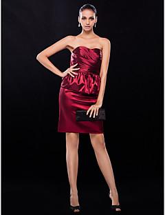 TS Couture Cocktailparty Hochzeitsfeier Kleid - Kurz Eng anliegend Trägerlos Kurz / Mini Stretch - Satin mitSchleife(n) Überkreuzte