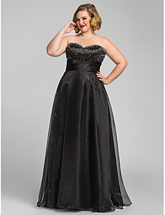 TS Couture® Prom / Formal Evening / Military Ball Dress - Open Back Plus Size / Petite A-line / Princess Sweetheart Floor-length Organza with Beading