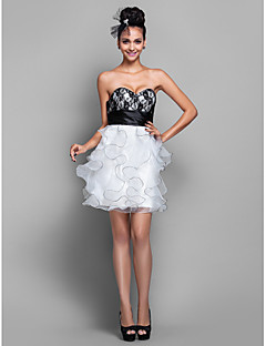 Homecoming Wedding Party/Cocktail Party/Homecoming Dress - Ivory Plus Sizes A-line Sweetheart Short/Mini Organza/Lace