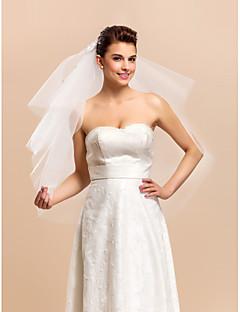 잘라 가장자리 4 층 팔꿈치 결혼식 신부 베일