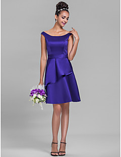 Knee-length Satin Bridesmaid Dress - Regency Plus Sizes / Petite A-line Off-the-shoulder
