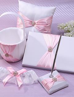 klassische Hochzeitssammlung in rosa Satin Set (5 Stück) Korallen Hochzeit