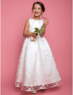 Lanting Bride A-line / Princess Floor-length Flower Girl Dress - Lace Sleeveless Jewel with Sash / Ribbon