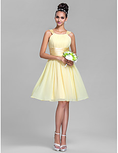 Knee-length Chiffon / Stretch Satin Bridesmaid Dress - Daffodil / Royal Blue / Ruby / Champagne / Grape Plus Sizes / Petite A-line Straps