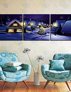 Toiles tendues Art Scène de rue de Noël Ensemble de 3