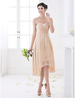 신부 들러리 드레스-A-라인 비대칭 스윗하트 쉬폰 플러스 사이즈 / 미니