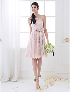Knee-length Lace Bridesmaid Dress - Mini Me A-line One Shoulder Plus Size / Petite with Sash / Ribbon