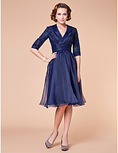 A-line Apple / Hourglass / Inverted Triangle / Pear / Rectangle / Plus Sizes / Petite / Misses Mother of the Bride Dress-Dark Navy