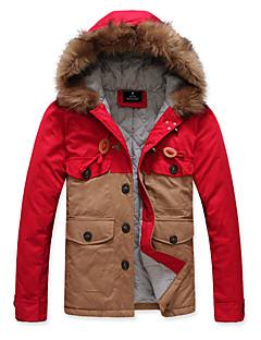 Männer Kontrast Farbe Wool Collar Short Cotton Outwear