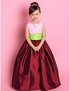 כלה לנטינג ® א-קו / נסיכת שמלה מרצפת אורך נערת פרח - תכשיט שרוולי טפטה עם ruching