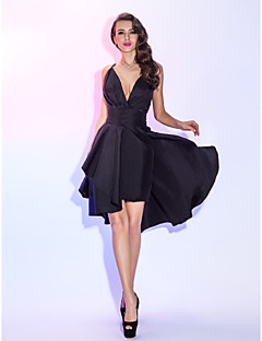 Homecoming Cocktail Party/Homecoming/Holiday Dress - Black Plus Sizes A-line Spaghetti Straps Knee-length Taffeta