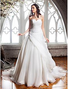 Lanting Bride® A-라인 퍼티트 / 플러스 사이즈 웨딩 드레스 - 클래식&타임레스 / 엘레강스&럭셔리 코트 트레인 스윗하트 오간자 와
