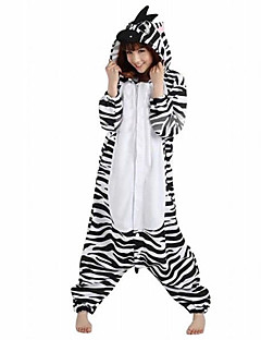 Kigurumi Pyjamas Zebra Trikot/Heldragtskostumer Festival/Højtider Nattøj Med Dyr Halloween Sort hvid Patchwork Polarfleece Kigurumi Til