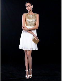 TS Couture® Cocktail Party / Wedding Party Dress Plus Size / Petite A-line Jewel Short / Mini Chiffon / Sequined with Sequins