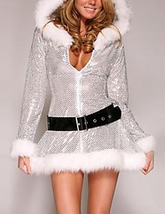 Cosplay Kostüme Santa Anzüge Fest/Feiertage Halloween Kostüme Silber / Weiß Kleid / Gürtel Weihnachten Frau Samt