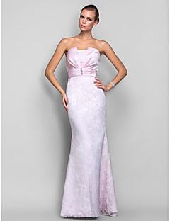저녁 정장파티/밀리터리 볼 드레스 - 블러슁 핑크 트럼펫/멀메이드 바닥 길이 스트랩 없음 레이스/사틴 플러스 사이즈