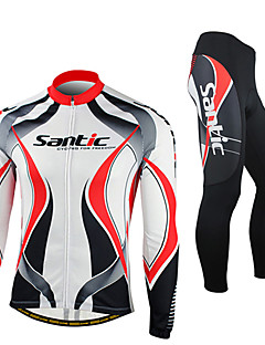 SANTIC Cycling Jersey with Tights Men's Long Sleeve Bike Jacket Tights Fleece Jackets Clothing SuitsThermal / Warm Windproof Anatomic