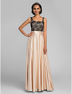 LAN TING BRIDE Floor-length Charmeuse Bridesmaid Dress - A-line Square Plus Size / Petite with Lace / Sash / Ribbon