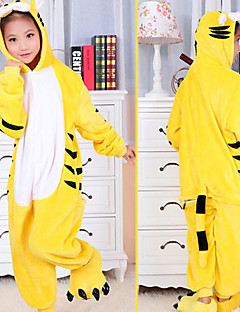 Yellow Tiger Flannel Kids Kigurumi Pajama