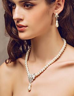 imitation Pearl / rhinestone damernas smycken set med halsband och örhänge set