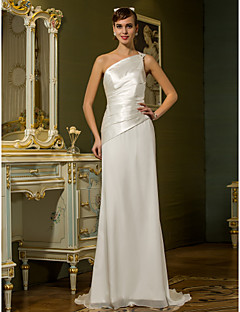 LAN TING BRIDE Sheath / Column Wedding Dress - Chic & Modern Simply Sublime Sweep / Brush Train One Shoulder Chiffon Stretch Satin with