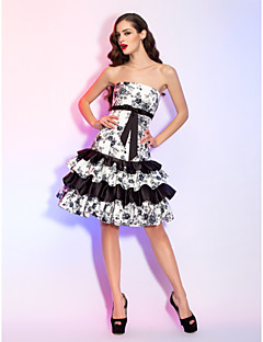 Homecoming Cocktail Party/Homecoming/Holiday Dress - Print Plus Sizes A-line/Princess Strapless Knee-length Satin