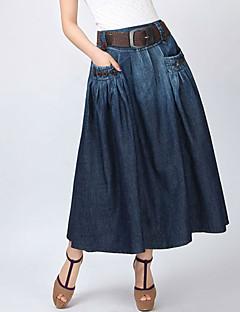 dammode vintage tillfälliga jeans maxikjol (bälte slumpvis)