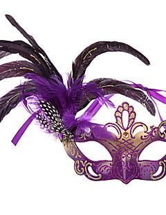 Maske Festival/Højtider Halloween Kostumer Lilla / Sort / Lyserød / Blå / Beige / Rosa Maske Halloween / Karneval Kvindelig Fjer / PVC