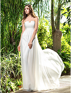Lanting Bride Sheath/Column Petite / Plus Sizes Wedding Dress-Floor-length Strapless Chiffon