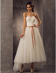 Lanting A-line/Princess Plus Sizes Wedding Dress - Ivory Asymmetrical Sweetheart Tulle