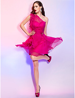 Homecoming Cocktail Party/Homecoming/Holiday Dress - Fuchsia Plus Sizes A-line/Princess One Shoulder Short/Mini Chiffon