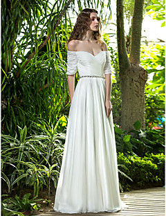 Lan Ting A-line Plus Sizes Wedding Dress - Ivory Floor-length Off-the-shoulder Chiffon